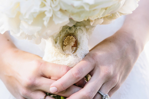 Lace Wrapped Bouquet With Cameo Pin