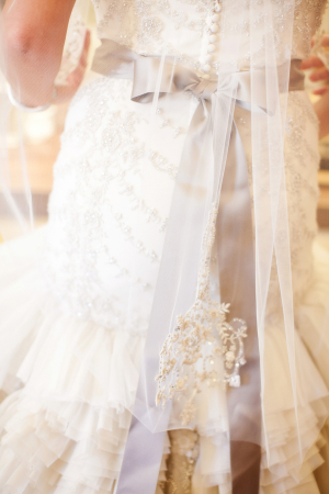 Lace and Crystal Wedding Gown With Ruffles