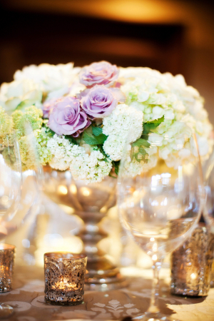 Lavender Green and Silver Centerpiece