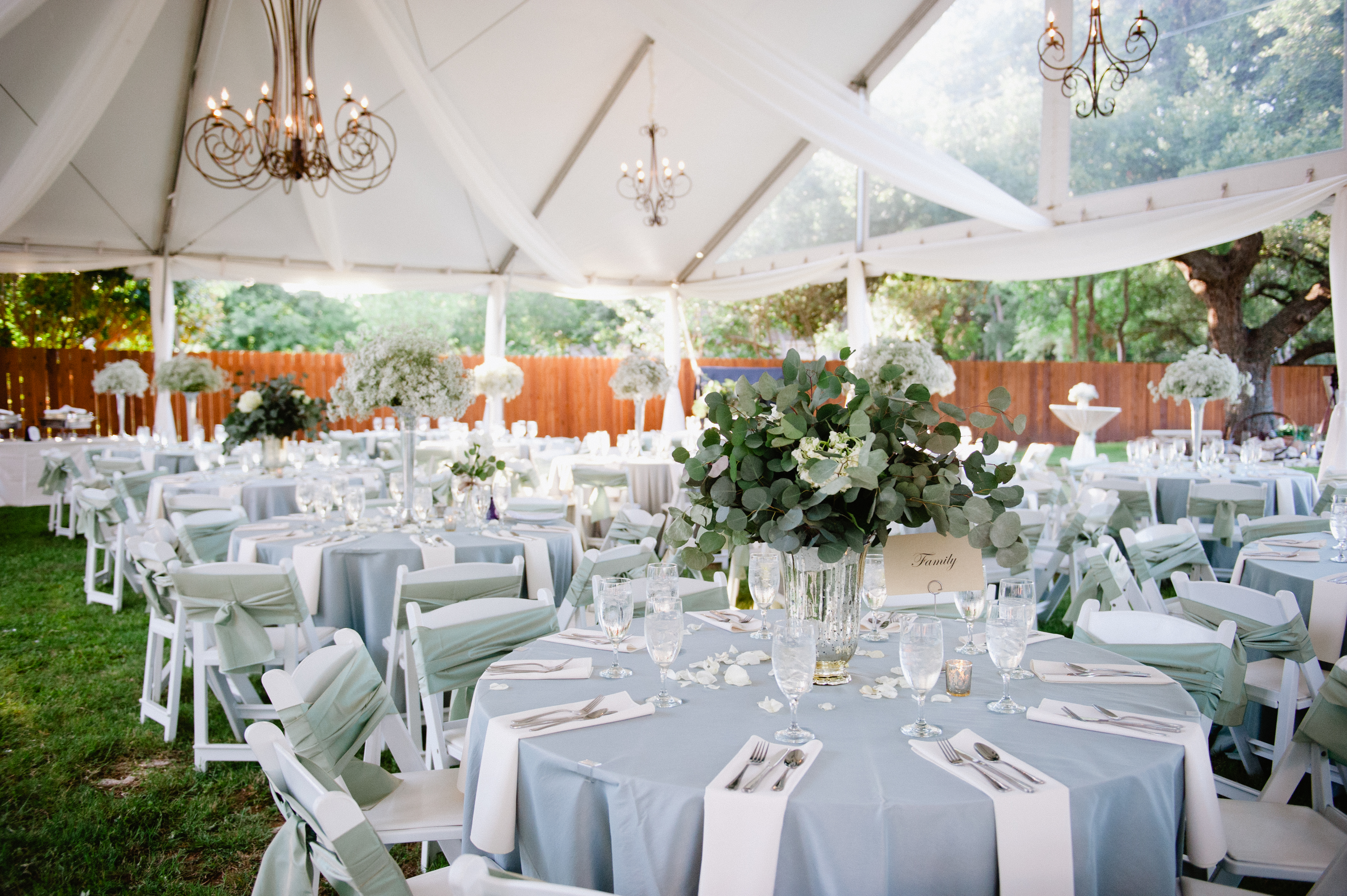 Light Blue and White Outdoor Reception Decor - Elizabeth Anne ...