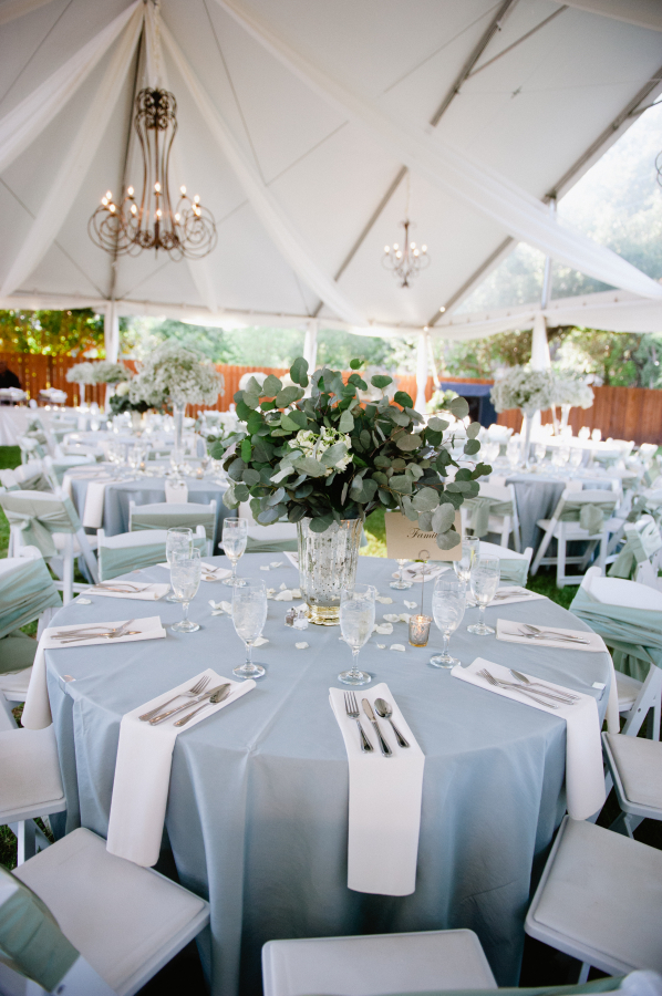 Light Blue and White Outdoor Reception Decor