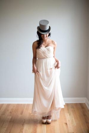 Light Pink Strapless Chiffon Bridesmaid Dress