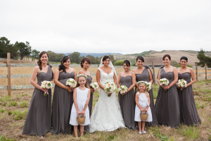 Long Charcoal Bridesmaids Dresses