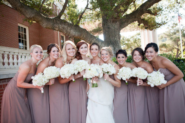 Long Strapless Taupe Bridesmaids Dresses