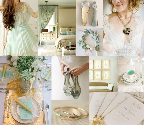 Mint Gold Wedding Colors