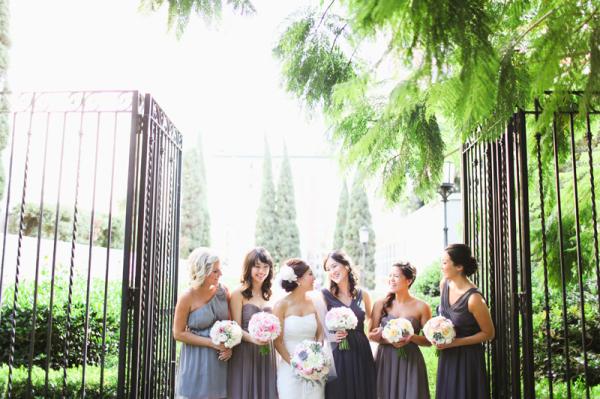 Mismatched Gray Purple Bridesmaids