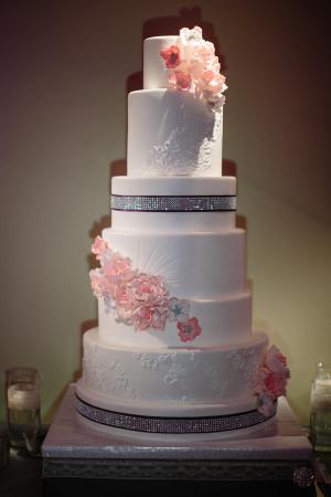 Modern Wedding Cake With Cascading Flowers