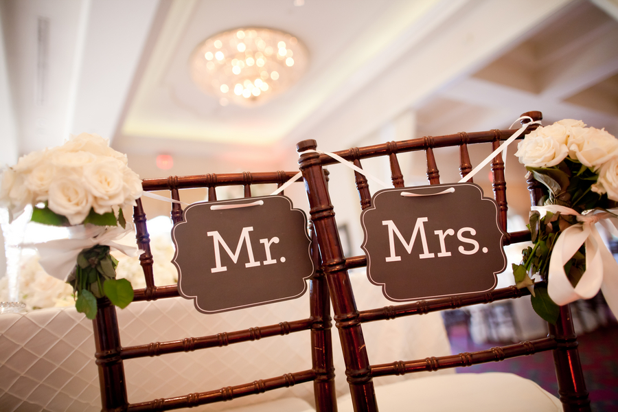 Mr and Mrs Reception Chair Signs - Elizabeth Anne Designs ...