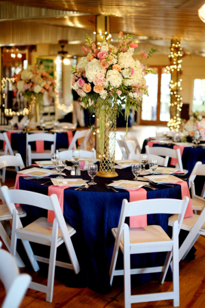 Navy Pink and Gold Reception Decor Ideas