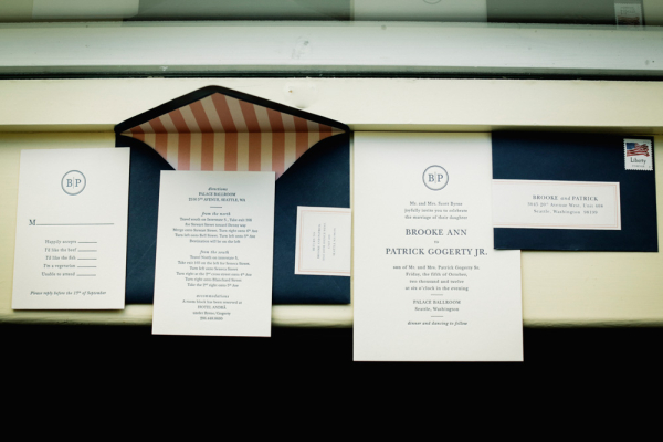 Navy and Salmon Pink Wedding Stationery