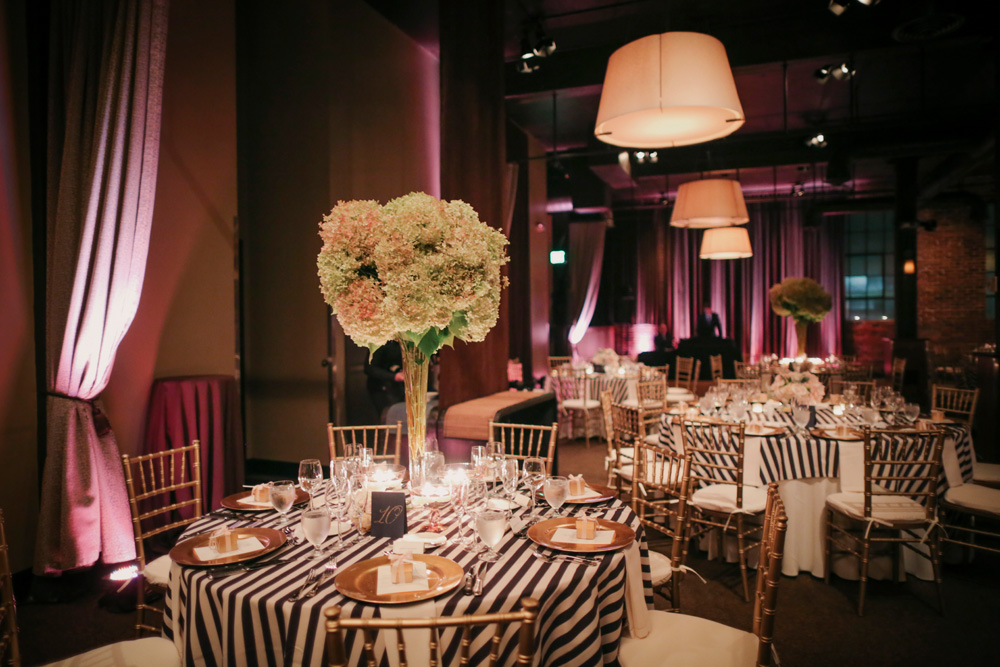 Navy And White Striped Tablecloths Reception Decor Ideas
