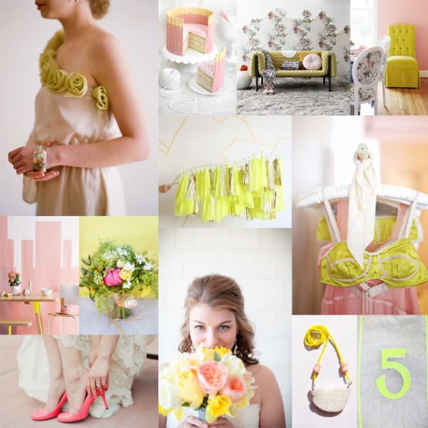 Neon Yellow Soft Pink Wedding Colors