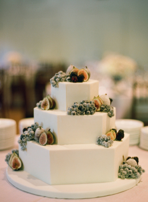 Octagonal Wedding Cake With Sugared Fruit