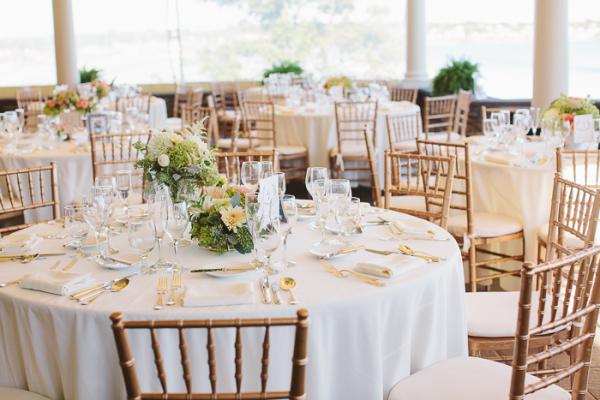 Peach and Gold Wedding Reception