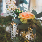 Peach Flowers and Moss in Mercury Glass Vases