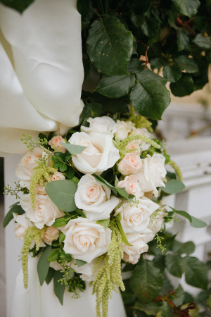 Peach Rose and Greenery Floral Ceremony Decor