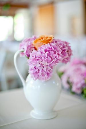 Peach Rose and Purple Hydrangeas in White Pitcher