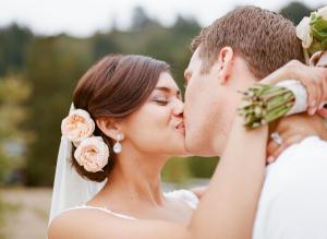 Peach Roses in Bridal Updo