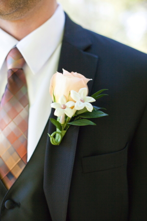 Peach and Brown Grooms Tie