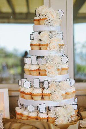 Peach and Cream Cupcake Wedding Cake