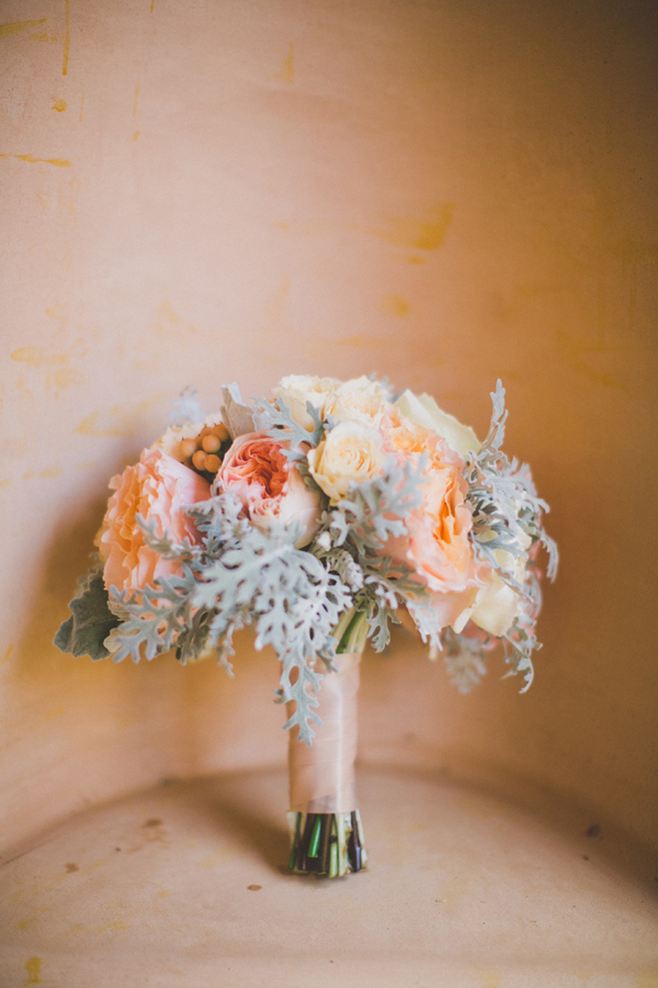 Peach and Pink Bouquet With Dusty Miller