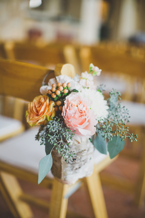 Peach and Pink Floral Aisle Decor