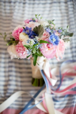 Pink Blue and Cream Bouquet With Ribbon Streamers