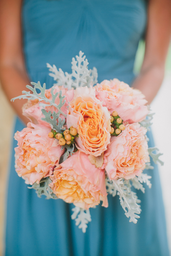 Turquoise Bridesmaids Dress Peach Bouquet Elizabeth Anne