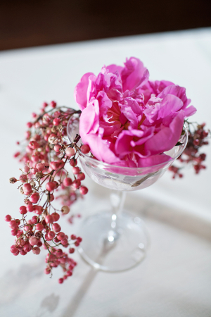 Pink Camellia With Berry Spray in Glass