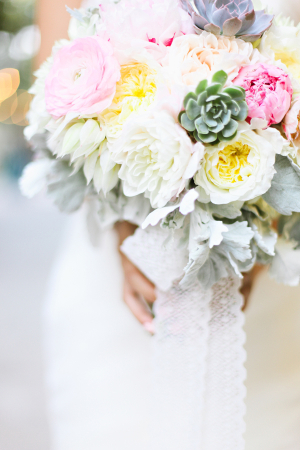 Pink Cream and Yellow Bouquet With Succulents and Lace