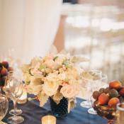 Pink Floral Arrangement and Fig Reception Decor
