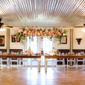 Pink Floral Reception Garland With Gold Lanterns