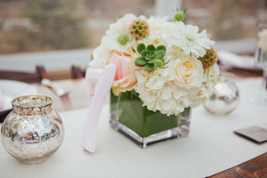Pink Green and White Flowers Reception Decor