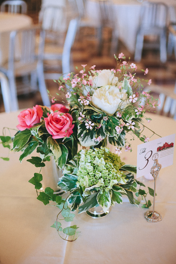Pink Green and White Flowers in Silver Mint Julep Cups