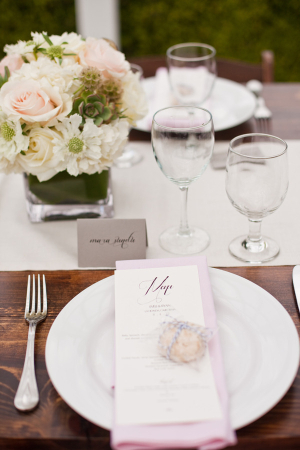 Pink Green and White Reception Decor Ideas