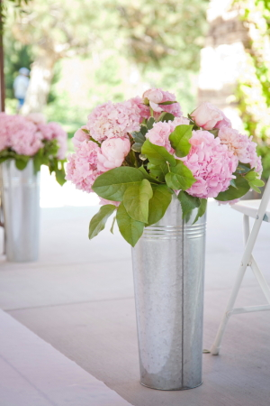 Pink Hydrangeas in Tin Buckets