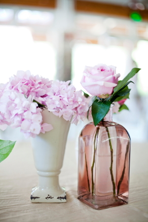 Pink Rose and Hydrangea in Small Vases