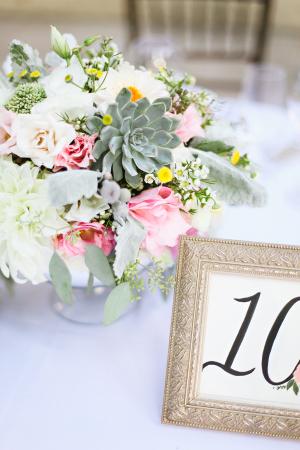Pink Rose and Succulent Reception Arrangement
