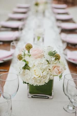 Pink Rose and White Hydrangea Reception Arrangement