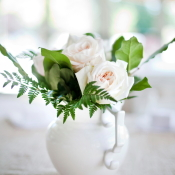 Pink Roses and Fern in White Pitcher