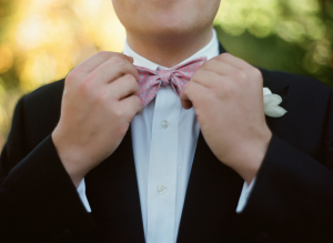 Pink and Blue Coral Print Bow Tie