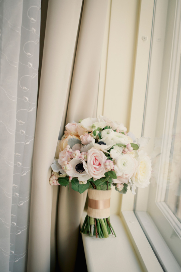 Pink and Cream Bridal Bouquet With Gold Ribbon