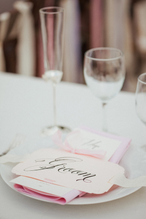 Pink and Cream Reception Linens
