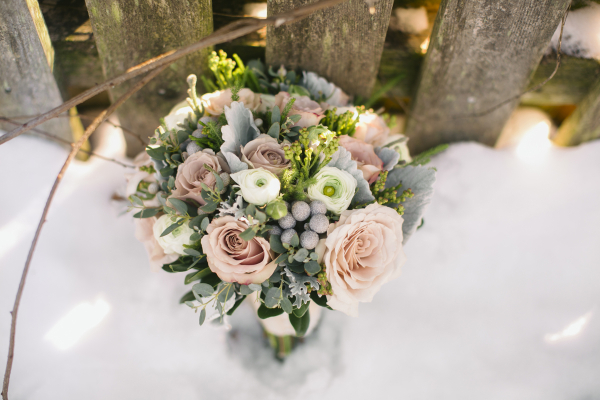 Pink and Green Bouquet With Berries and Dusty Miller