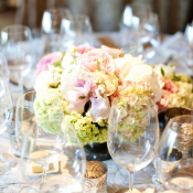 Pink and Green Floral Arrangement Reception Decor