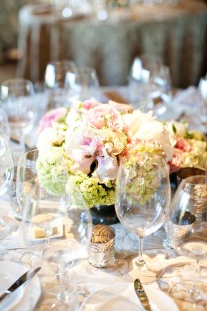 Pink and Green Floral Arrangement Reception Decor