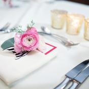 Pink and Navy Stripe Reception Decor Ideas