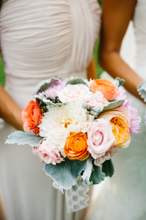 Pink and Orange Bouquet With Dusty Miller