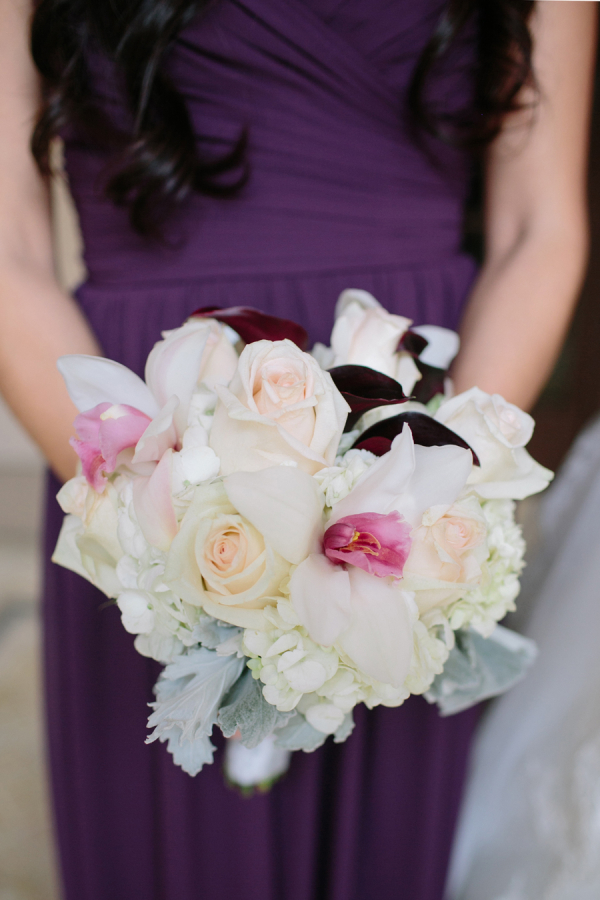 Pink and Peach Bridesmaid Bouquet With Dusty Miller