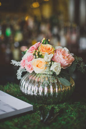 Pink and Peach Roses in Mercury Glass